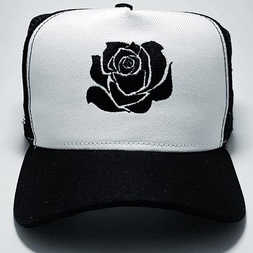 Boné Flower branco e preto