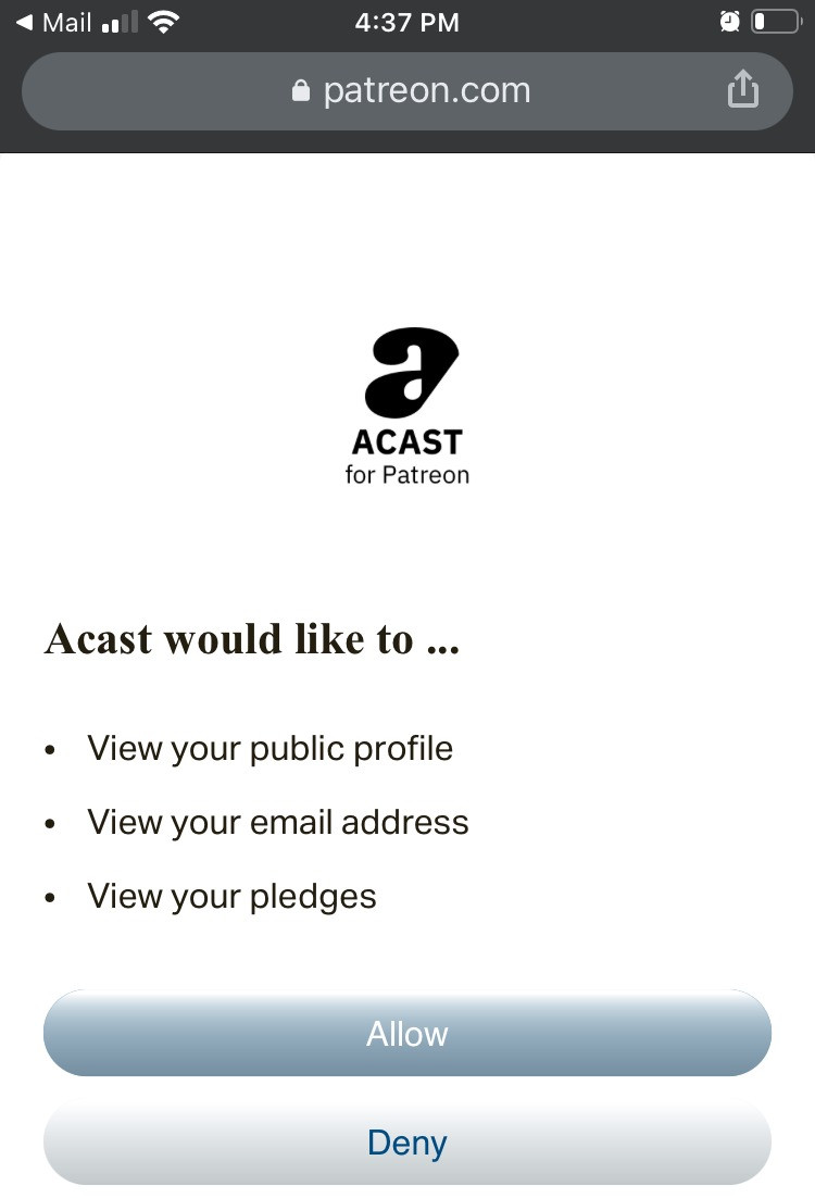 Acast for Patreon authorization request.