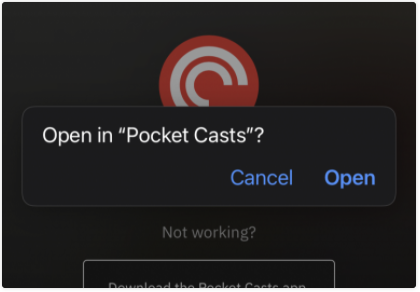 Click to Open in Pocket Casts