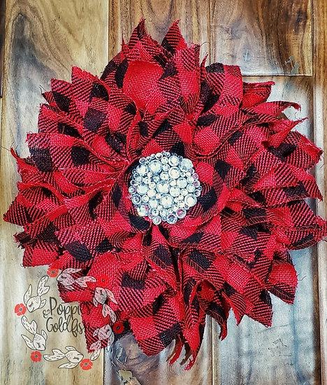 Buffalo Check Burlap Wreath w/Bling