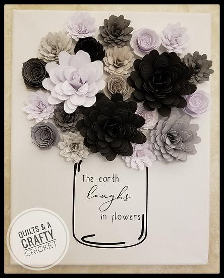 Paper Flower Canvas- Black & white