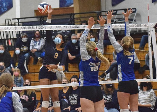 COLUMBUS CATHOLIC VOLLEYBALL SWEEPS ASSUMPTION, NAILS DOWN DIVISION 4 REGIONAL TITLE