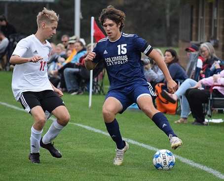 OLSON'S HAT TRICK LEADS COLUMBUS CATHOLIC SOCCER TO WIN AT McDONELL/REGIS