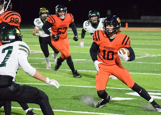 LEMOINE SETS RECEIVING RECORD FOR MARSHFIELD FOOTBALL IN POSTSEASON LOSS TO HUDSON