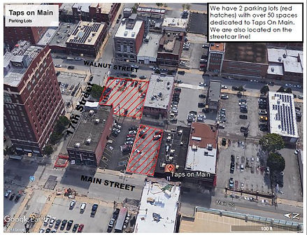 We have over 50 parking spaces, this map shows our two parking lots in downtown Kansas City