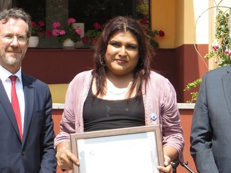 Le otorgan Premio Franco-Alemán de Derechos Humanos a Miluska Luzquiñoz .