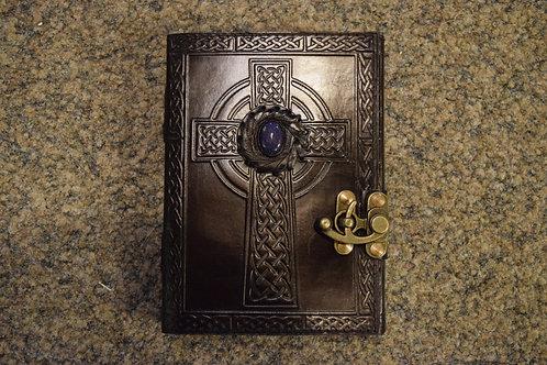 Carnet en cuir noir Croix Celtique