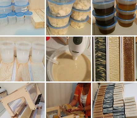 9 small pictures of the process of making soaps at Aromariss