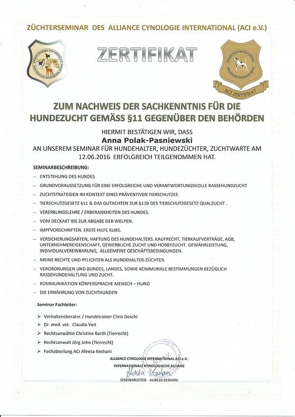 Heir ist Mein (Anja) Zertifikat, zum nachweis dass ich am Züchtersemina teilgenommen habe :)