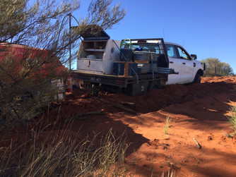 Outback SA station fencing, bogged