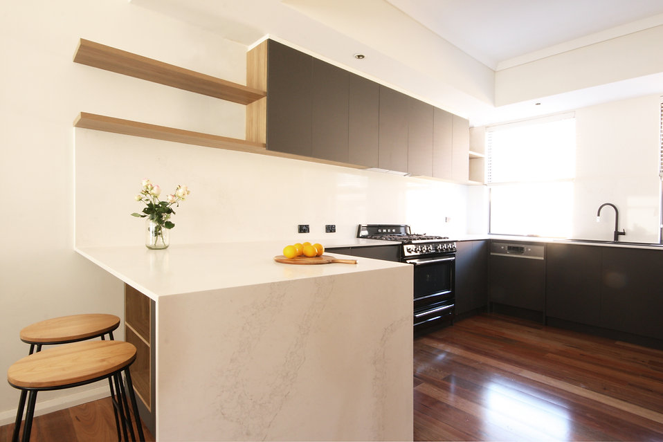 Modern kitchen cabinets with two trendy colours and open shelving in Perth