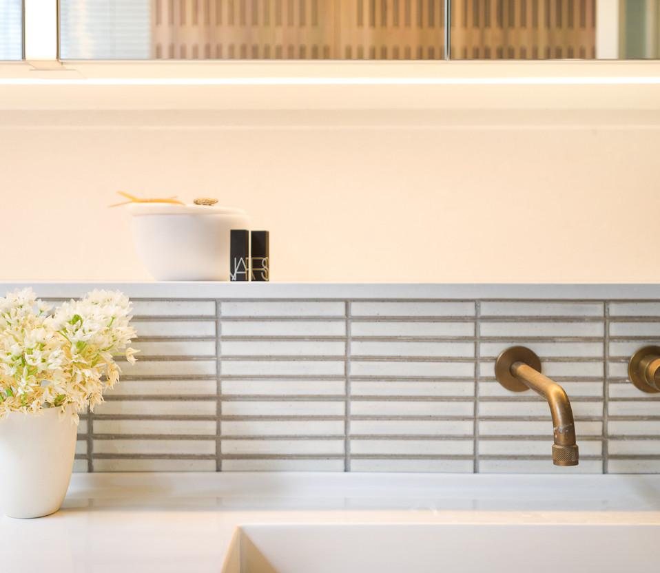 Bespoke bathroom design with shaving cabinets and lights East Fremantle, Perth