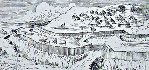 Clever Boia Hillfort, artist impression from The Journal of Antiquities