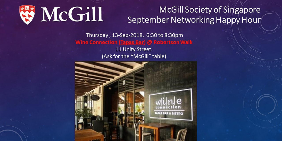McGill Society of Singapore - September Networking Happy Hour!