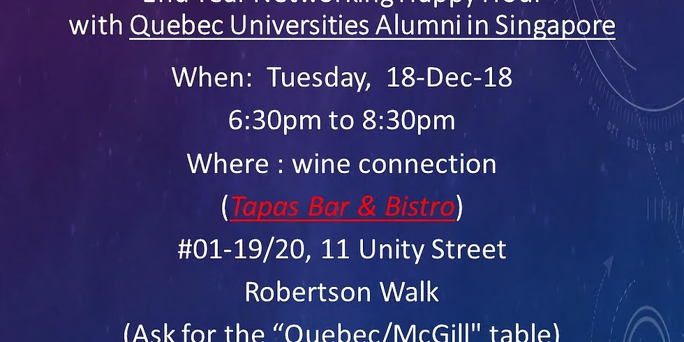 End of Year Networking - Quebec Universities Alumni in Singapore