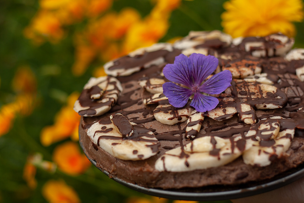 Raw vegan chocolate cake with pili nuts