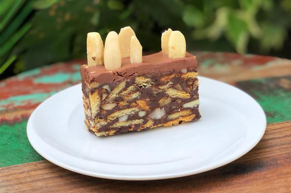 Vegan doukissa cake with pili nuts and chocolate