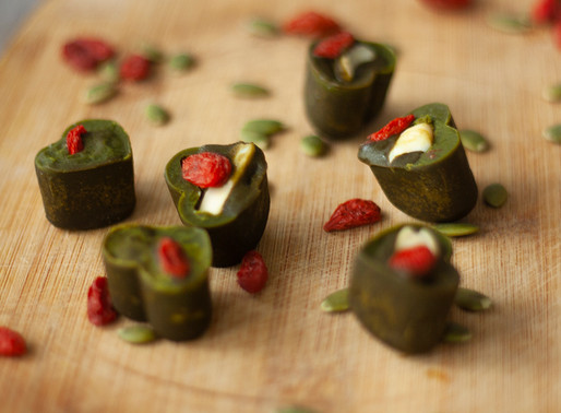 Matcha Chocolate with Pili Nuts