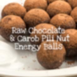 Raw Chocolate and Carob Pili Nut Energy Balls