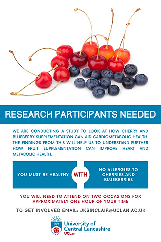 Cherry Juice and Blueberry Juice supplementation for cardiometabolic health