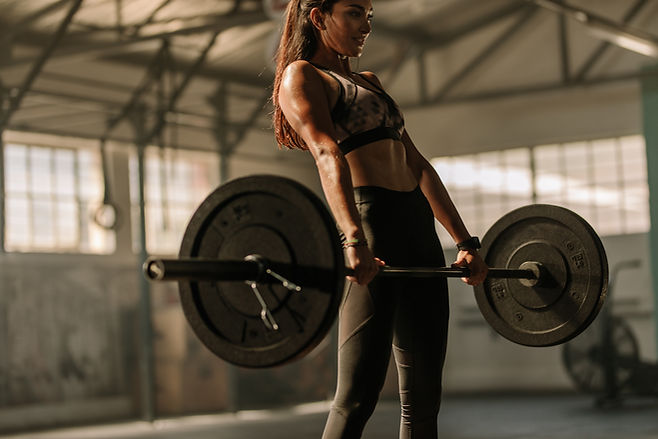 Determined and strong fitness woman trai