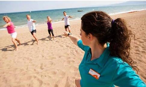 Teaching Yoga on the beach