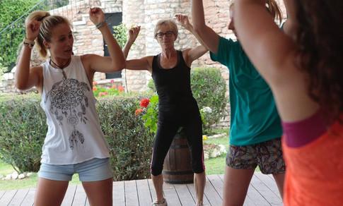 Teaching a fitness class in greece