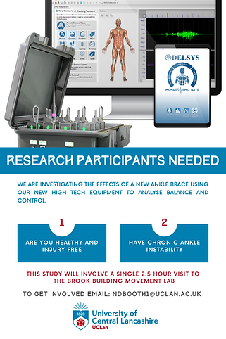 Research recruitment for ankle instability and sprains, taking place in Preston, England