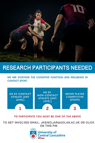 Research recruitment for ex athletes and non sports participants looking at cognitive function and wellbeing. Take this short survey by clicking on the image
