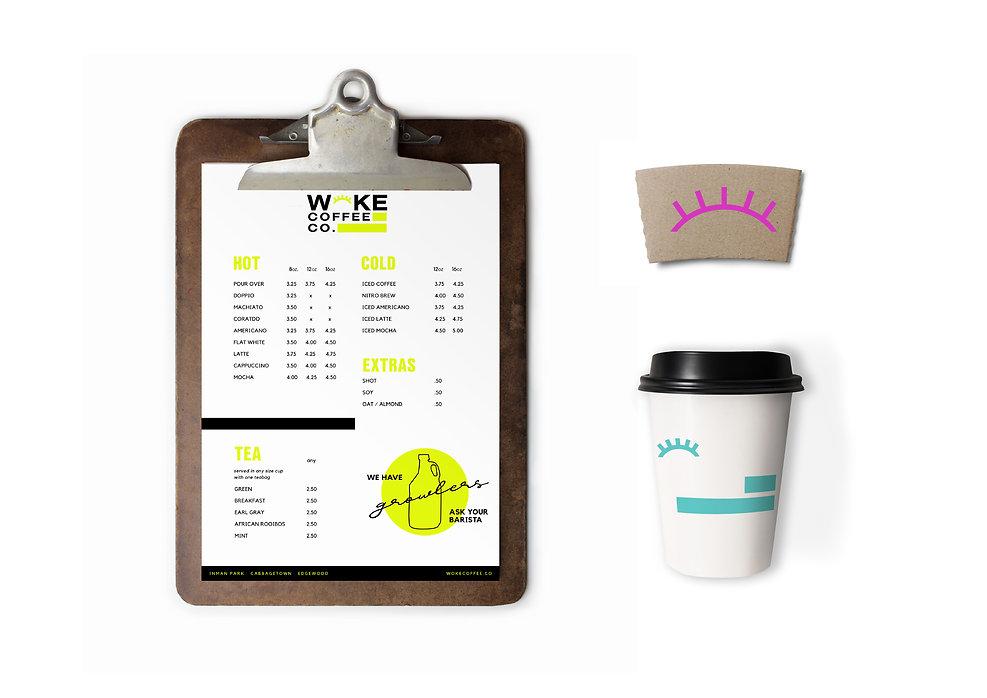 hipster coffee shop menu cup branding minimal neon