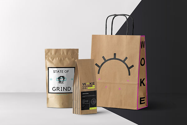hipster coffee shop bag brandig minimal neon