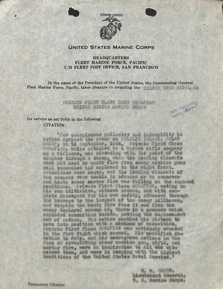 Haig Sarafian Silver Star Citation