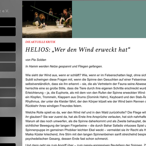 Fidena Portal, Germany with Helios Theater, Germany. Premiere of commissioined piece by NRW Kultursekretariat Gütersloh, Germany.
