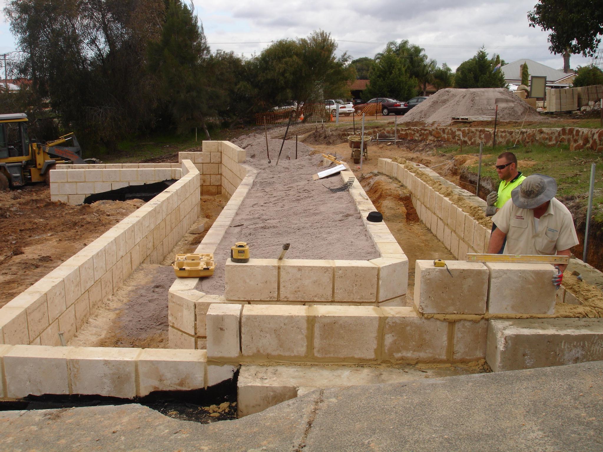 Limestone Wall Under Constructio