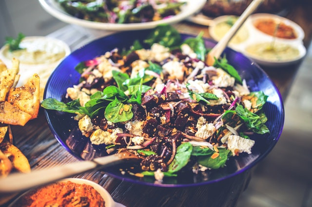 Beautiful healthy bowl of salad with beets