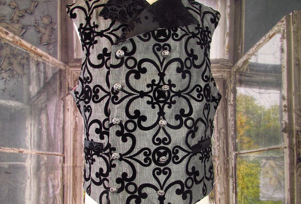 Handmade Gray Tweed Velvet-Embossed Steampunk Waistcoat