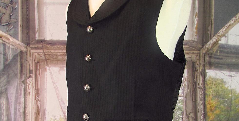 Handmade Steampunk Vest in Black Pinstripe Twill