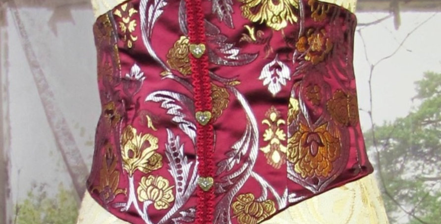 Reversible Corset in Burgundy and Gold Brocade