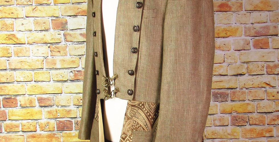 Herringbone Tweed & Paisley Steampunk Frock Coat