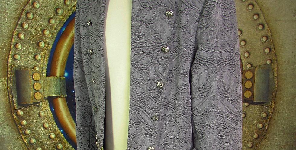 """""""Louis"""" Coat in Gray Textured Denim"""