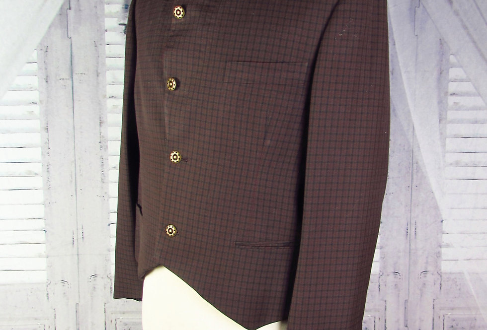 Brown-Maroon Wool Plaid Steampunk Tailcoat