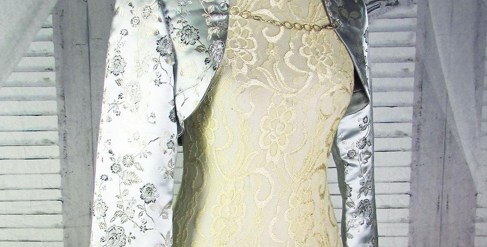 """""""Sophia"""" Bolero in Silver-Blue Floral Brocade"""