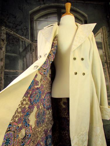 Handmade Ivory Brocade Coat
