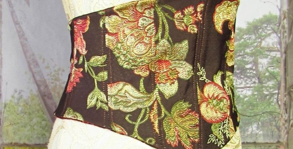 Reversible Corset in Brown Floral Brocade & Red Velvet