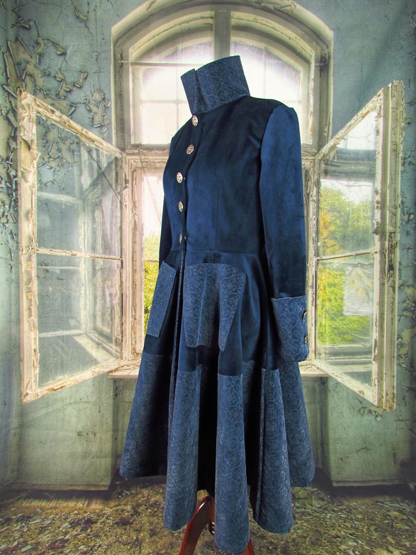 Handmade Dark Blue Velvet Swing Coat