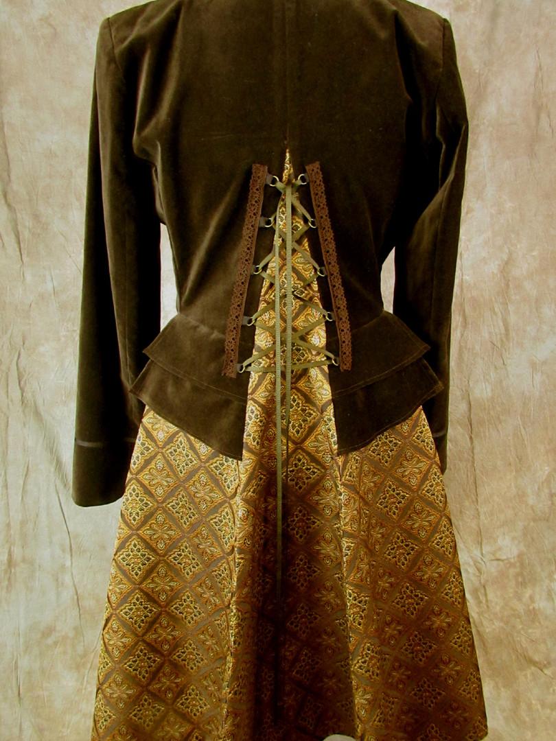 Brown Velvet Lace-up Coat