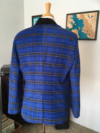 Handmade Blue Wool Plaid Sport Coat