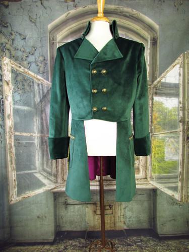 Handmade Mad Hatter Green Velvet Coat
