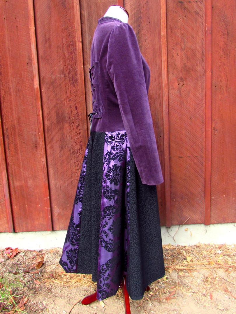 Purple Velvet Panel Coat