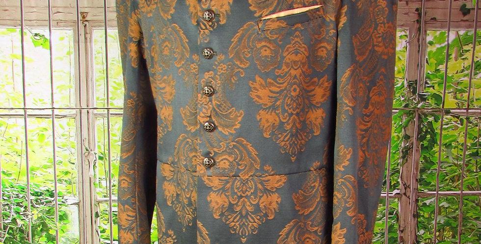 """""""Arthur"""" Coat in Forest Green and Gold Brocade"""